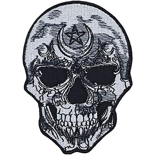 Totenkopf Patch Skull Aufbügler Biker Aufnäher Rocker Bügelbilder Pentagram Sticker Piraten Geschenk Heavy Metal Fan DIY Applikation für Jacke/Weste/Jeans/Motorradkoffer 90x65mm