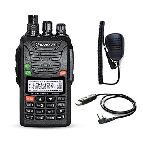 WOUXUN KG-UV6D 4m/2m 66-88/136-174MHz Dualband Amateurfunk PMR-Handfunkgerät (mit USB Programmier-Kabel und Mikrofon)