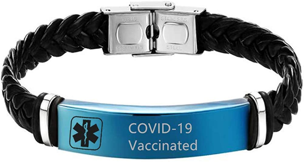 COVID-19 Vaccinated Bracelets for Men Women Steel High material Ad - Stainless Columbus Mall