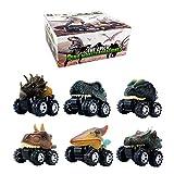 DINOBROS Dinosaur Toy Pull Back Cars 6 Pack Dinosaur Boy Toys Age 3,4,5,6,7 Dino T-Rex Games