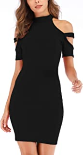 Women's Fashion Cold Shoulder Strappy Short Sleeve Party Bodycon Midi Dresses
