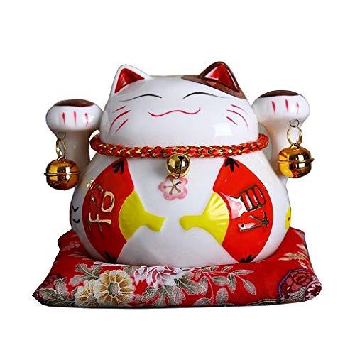 WGD Dong 4.5 Inch Ceramic Lucky Cat Money Box, Japanese Lucky Cat Maneki Neko Home Ornaments, Fortune Cat Animal Sculpture Feng Shui Craft Decoration (Color : D)