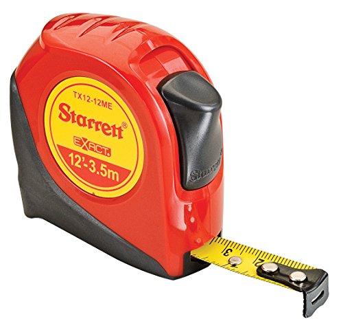 Starrett Exact KTX12-12ME-N ABS Plastic Case Red Measuring Pocket Tape, English/Metric Graduation Style, 12' (3.5m) Length, 0.5' (12.7mm) Width, 0.0625' Graduation Interval