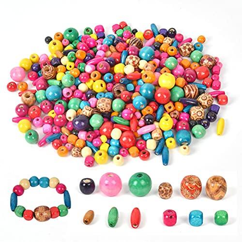 NA YANSHON Cuentas de Madera Multicolor, Abalorios Madera Colores de 500g, Perlas...