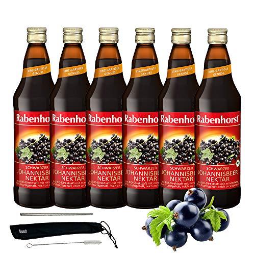 Rabenhorst Saft Bio Schwarzer Johannisbeer-Nektar 6x 700ml Vegan Reich an natürlichem Vitamin C - erfrischend fruchtiger Geschmack PLUS fooodz-Trinkhalm Set mit Reinigungsbürste