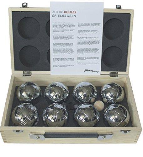 Premium bouleball-set - 8 stuks in houten koffer Classic incl. een magneetbal lift op de band