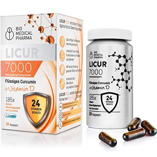 Kurkuma Kapseln hochdosiert mit Vitamin D3 | Mizellen Curcumin, 185x höhere Bioverfügbarkeit ohne Piperin | 1 flüssig Kapsel täglich - entspricht 6.600 mg Curcuma Pulver | Licur 7000 D (Monatspack)