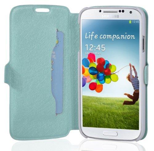 Cadorabo - Funda Book Style en Diseño Fino para Samsung Galaxy S4 GT-I9500 / I9505 – Etui Case Cover Carcasa Caja Protección con Tarjetero y Función de Soporte en Azul