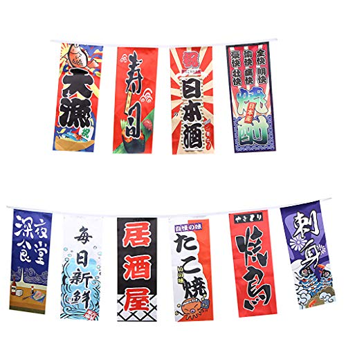 Baosity Japanese Style Bunting Flags Banners Shop Store Restaurant Doorway Decor - F