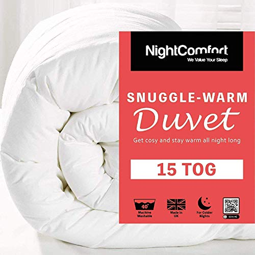 Night Comfort 15 Tog Snuggle Ultra Warm Duvet - Winter Quilt Single Double King Super King Size (SuperKing)