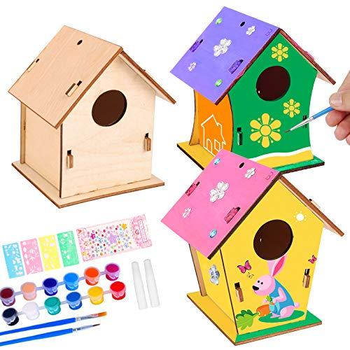 colmanda Casa de Pájaros Madera Manualidades Kit, 3 Pcs Casa pájaros Pintar...