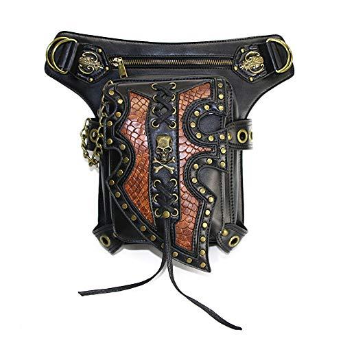 Sac Banane Steampunk Crâne Noir Retro Rock Hommes Femmes Sac de Taille Gothique synthétique Cuir Moto Messenger Sacs Pochette de Course (Color : Black, Size : Free Size)