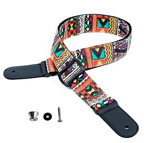 WINGO Ukulele Strap Hawaiian Jacquard Woven Ukelele Shoulder Strap Adjustable for Soprano,Concert and Tenor Uke, with Strap lock (1 pc)