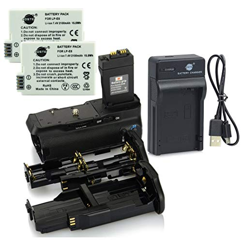 DSTE BG-E8 Battery Grip + 2x LP-E8 Battery + USB Charger Compatibile per Canon EOS 550D 600D 650D 700D Rebel T2i T3i T4i T5i