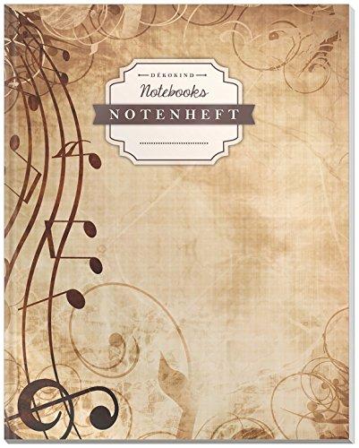 DÉKOKIND Notenheft | DIN A4, 64 Seiten, 12 Notensysteme pro Seite, Inhaltsverzeichnis, Vintage Softcover | Dickes Notenbuch | Motiv: Verschnörkelt