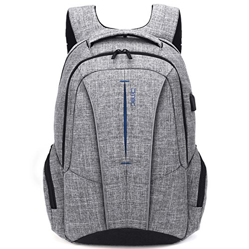 DTBG 17 Inch Laptop Backpack with USB Charging Port Anti-Theft Pockets,Stylish Travel Business Backpack for Women/Men,Slim College Daypack Computer Backpack for Laptops Up to 17.3 Inch, Gray