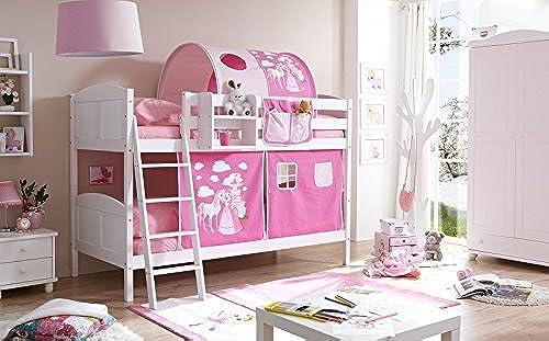 Etagenbett Maris inkl Vorhang Kiefer massiv Weiß EN 747-1 + 747-2 Stockbett Doppelbett Spielbett Kinderbett Bett Kinderzimmer Hochbett