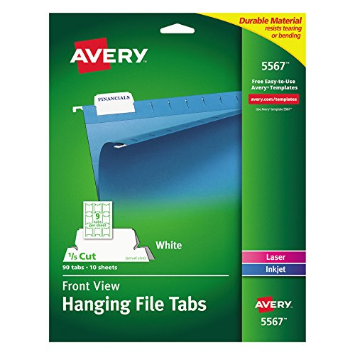 Avery 5567 Print/Write-On Hanging Tabs, 1/5 Tab, 2 1/16, White (Pack of 90)