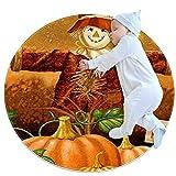Alfombra de área Redonda Suave Alfombrillas Circulares de Piso Antideslizantes Diameter 39.4INCH Alfombrilla de pie de Esponja de Memoria Absorbente,espantapájaros de otoño