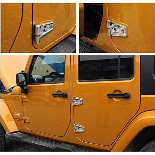 Wotefusi Car New 8 Pieces Left & Right Chrome Trim Side Door Hinges Covers Molding Trim Set for Wrangler Jk 2007-2017