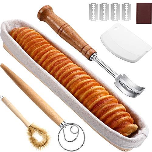 38,1 cm Banneton Brot Gärkörbchen Baguette Sauerteig Französisches Brot Backset mit Teigbesen, Brotlame, Teigschaber, Korb-Auskleidungstuch, Klingen und Korb-Reinigungsbürste