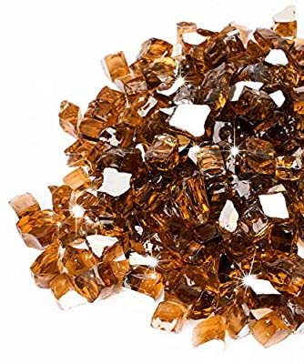 GASPRO 10-Pound Fire Pit Glass High Luster, 1/2inch Reflective Tempered Fire Glass in Cosmic Copper for Propane or Natural Gas Fire Pit or Fireplace