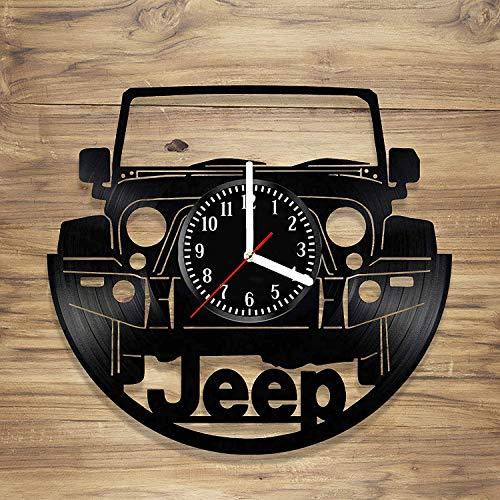 SQINAA Reloj de Pared de 12 Pulgadas Disco de Vinilo Jeep Art Car Regalo de la decoración Decorativo único Vinilo Reloj Negro (30 cm)