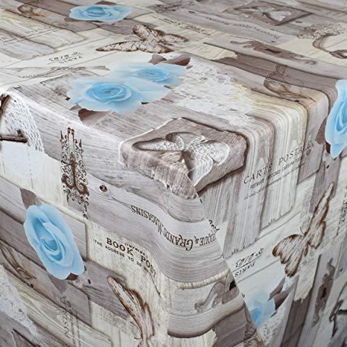 Kevkus 01375-04 - Mantel de hule, diseño de flores, rosas azules en madera, a elegir en rectangular, redondo, ovalado, Borde: Recorte (borde de ganchillo), multicolor, 100 x 120 cm eckig