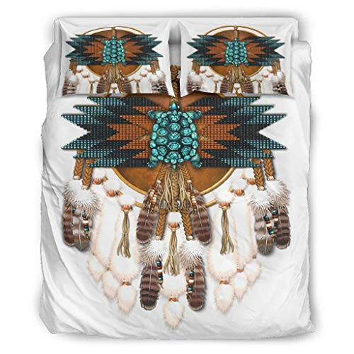 DOGCATPIG Juego de funda de almohada Americ-ano Man-dala para parejas, juego de edredón de 3 piezas, para compañeros de habitación, color blanco, 228,6 x 228,6 cm