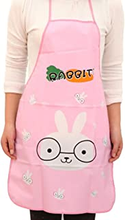 Vibola Women Waterproof Cartoon Kitchen Cooking Bib Apron (Pink)