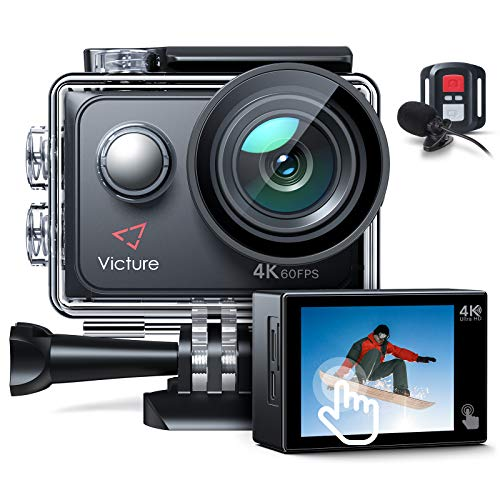 Victure AC920 4K 60FPS Touch Screen Action Camera with 8X Zoom, Dual Microphone, Remote Control, Upgraded EIS, 40M Underwater Camera, PC Webcam with 2x1350mAh Batteries and Accessories Kit Included