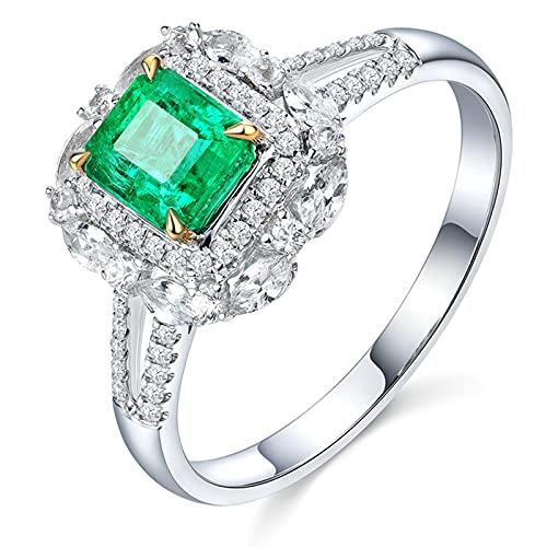 KnSam Mujer Hombre Unisex 18K oro blanco baguette verde Emerald
