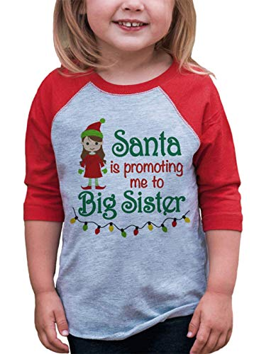 7 ate 9 Apparel Kids Big Sister Christmas Raglan Shirt Red 18 Months