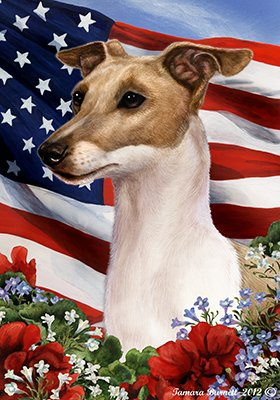 Best of Breed Italian Greyhound Fawn/White Patriotic Garden Flags