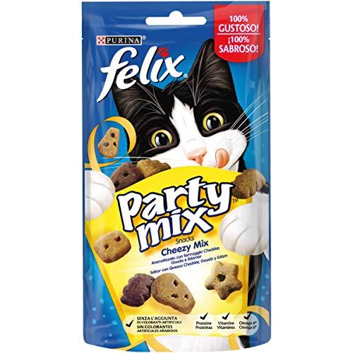 Scopri offerta per PURINA FELIX Party Mix Snack Gatto Cheezy mix aromatizzato con formaggio Cheddar, Gouda e Edamer - 8 confezioni da 60g ciascuna