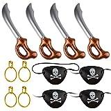 TUPARKA 12 UNIDS Espada Pirata Inflable con Pendiente de Pirata Parches de Ojo de Pirata para Suministros de Fiesta Decoraciones Disfraces de Vestidos de Lujo Accesorios