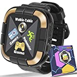 Kids Smartwatch for Boys Girls Toddlers, Kids Walkie Talkie Game Smart Watch with Camera Touch Screen Pedometer, Kids Wrist Bracelet Electronic Toys Watches Birthday Holiday Valentines Gifts (Black)