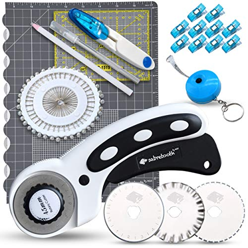 Quilting Rotary Cutter Set: Sewing Rotary Cutter for Fabric & Blades, Foldable Cutting Mat, Acrylic Sewing Ruler, Measuring Tape, Sewing Clips & Pins, Thread Snips, Fabric Pencil & Carving Knife Set