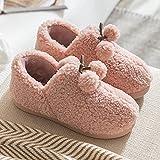 QPPQ Pantuflas de espuma viscoelástica, zapatillas de interior de felpa, zapatillas de algodón cálidas y cómodas para hombres y mujeres-Rosado_7.5-8.5, zapatillas de algodón al aire libre