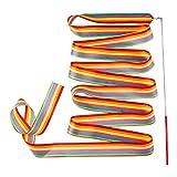Bascar - Cinta de gimnasia multicolor con barra, bandas con palo para niños, bailes artísticos para gimnasia rítmica, danza, gimnasio, serpentina, longitud: 4 m, multicolor