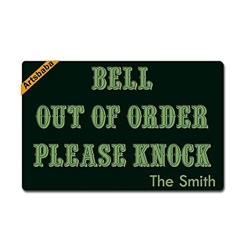 """Artsbaba Personalized Your Text Doormat Bell Out of Order Please Knock Doormats Monogram Non-Slip Doormat Non-Woven Fabric Floor Mat Indoor Entrance Rug Decor Mat 23.6"""" x 15.7"""""""