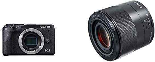 Canon EOS M6 Mark II Mirrorless Camera, Body (Black) with EF-M 32mm f/1.4 STM Lens, Black