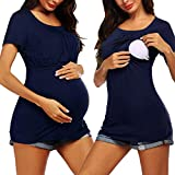 Ekouaer Womens Mama Maternity Tunic Tops Fitted Pregnancy Clothes Nursing Shirts Navy Blue XXL