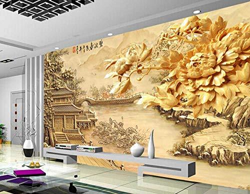 Behang muurstickers 3D behang luxe aangepaste Europese pioen paviljoens behang woonkamer slaapkamer tv achtergrond behang 350 * 245cm