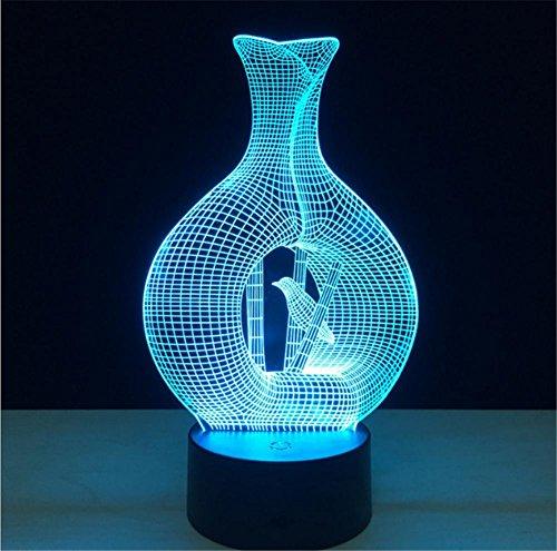 Veilleuses Illusions Optiques Cage Lampe oiseaux bureau 3d 7 couleurs Changement tactile interrupteur à distance Tableau de commande LED Night Light Lighting Décoration Accessoires pour la maison