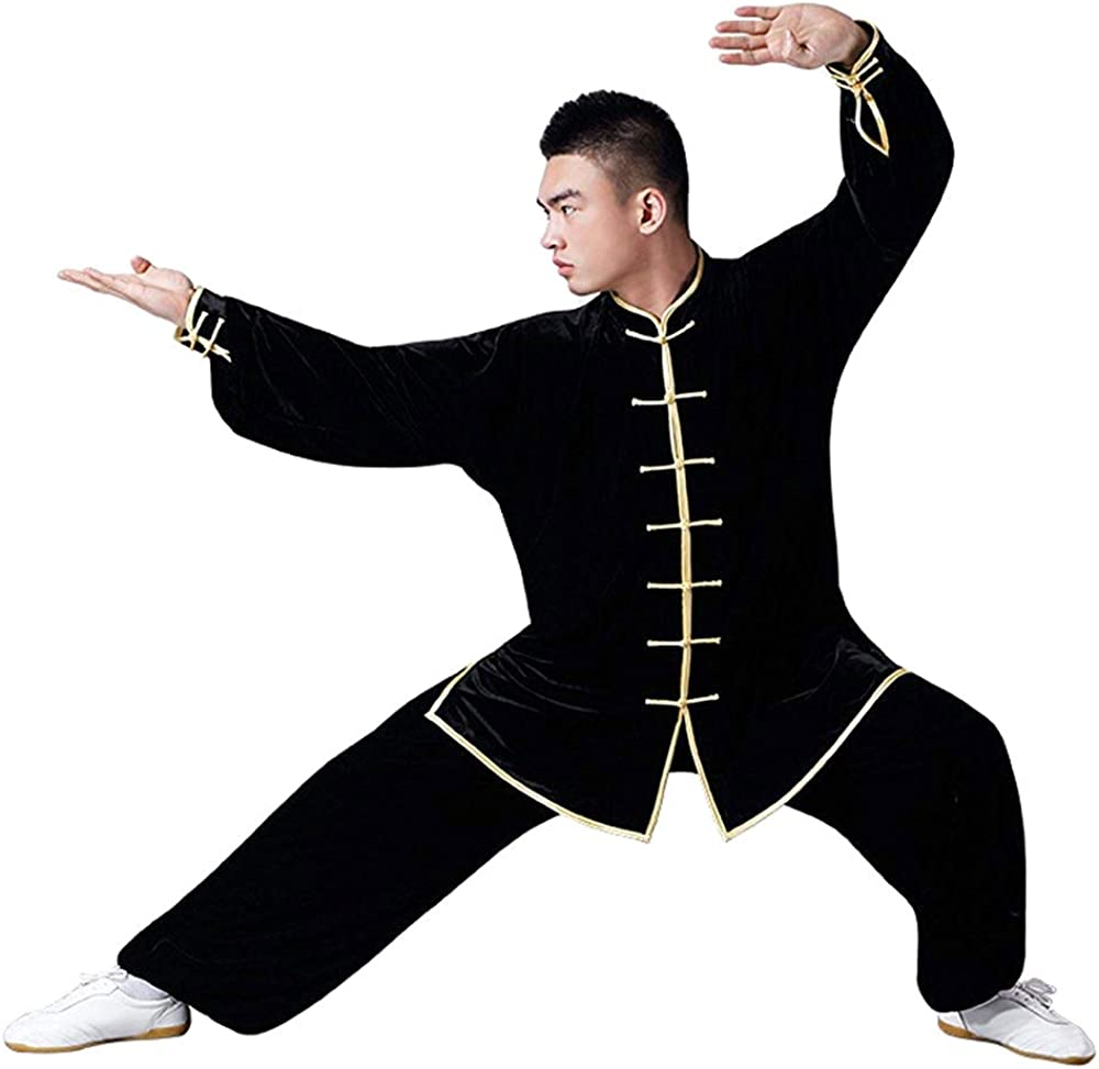 Pleuche G-like Tai-Chi Kleidung Anzug Verdickung Kampfsport Kung Fu Taiji Qigong Wing Chun Shaolin Wushu Training Uniform Herbst Winter Morgengymnastik Bekleidung f/ür M/änner Frauen