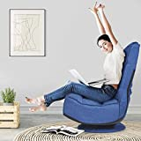 FANTASK 360 Degree Swivel Floor Chair, Folding Floor Sofa w/ 5 Adjustable Positions & Backrest, Lazy Lounge Chair for Relaxing Reading Gaming TV Watching (Navy Blue)