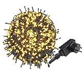 AUFUN LED Lichterkette Außen WarmWeiß - Außenlichterkette Weihnachtsbeleuchtung Wasserdicht IP44 mit 8 Leuchtmodi - für Hochzeit,Party,Garten...