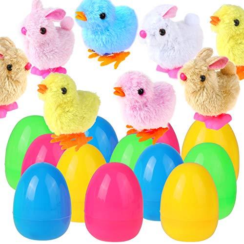 HOWAF 12 Huevos de Pascua Rellenos de Juguete, Huevos Sorpresa, Conejos y Polluelos, Huevos de Pascua de 9 cm para niños Regalos de Fiesta Pascua, Búsqueda de Huevos de Pascua