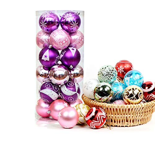 JYHF 24Pcs Christmas Ball Ornaments 6 Style Xmas Tree Decorations Shatterproof Christmas Tree Decorations Hanging Ball for Holiday Wedding Party Decoration 2.4 Inch (Pink, Purple)